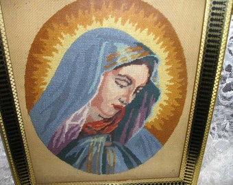 Vintage Beautiful Virgin Mary/Madonna Hand Crafted Petit Point Framed Tapestry Religious Wall Art/Hanging.