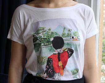 Ladies Korean Fashion South Korea Hanbok Fair trade T Shirt, Korean clothing, Off shoulder top, Asia arts, Korean Art, Korean gift,