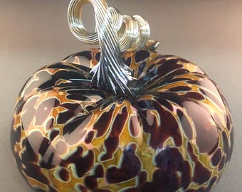 Original Hand Blown Glass Pumpkin in Yellow, Ruby Red, and Pink