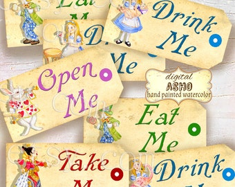 Alice in wonderland Tags,  ALICE tags, Alice in Wonderland decoration, instant download, perfect for parties, presents and invitations.