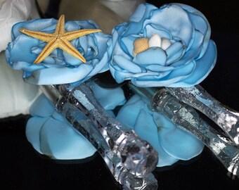 Blue Wedding cake server Rhinestones Wedding cake knife Cake cutting set Rustic cake server Personalized wedding cake server set starfish