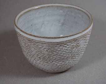 White chawan tea bowl with pinecone texture
