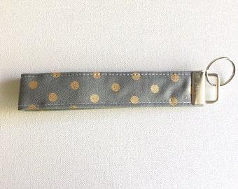 FREE SHIPPING ALWAYS - Grey and gold polka dot Fabric Keychain, Key Fob Wristlet, Key Fob Keychain, Key Wrist Strap.