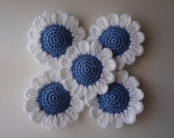 5 Handmade Crochet Flowers 6.5 cm.