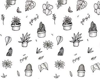House Plant Pattern Print A5