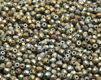 100pcs Czech Fire-Polished Faceted Glass Beads Round 3mm Jet Brown Iris Matte