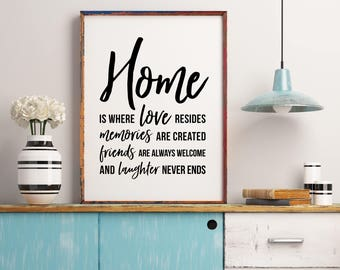 Attractive Home Is Where Love Resides, Memories Friends And Laughter, Family Wall Art, Family  Decor, Family Quote,Apartment Art, Family Christmas Gifts