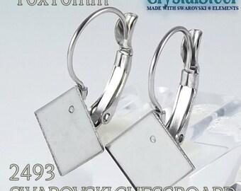 10x10mm Swarovski 2493 chessboard french clip, lever back , Hypoallergenic stainless steel