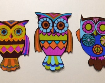 SALE*Set of Three Owl Appliques*Handmade*Alice Kennedy Fabric/263
