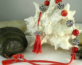 Silver and Coral Tenner with Cone Tassel - Chaplet - Paternoster