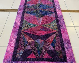 Modern Quilted Batik Table Runner purples fuschia
