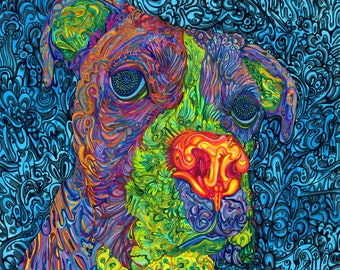 "Dog 20""x23"" - 59x51 cm Museum quality art reproduction."