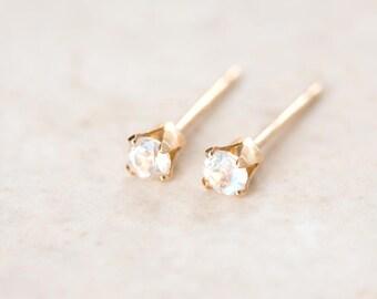 Moonstone Earrings, Rainbow Moonstone Stud Earrings, 3mm & 4mm Moonstone Studs, Silver Rainbow Moonstone and 14K Gold Filled Moonstone Studs