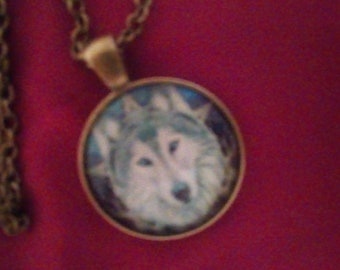 The Wild One Wolf Spirit cabachon pendant and necklace