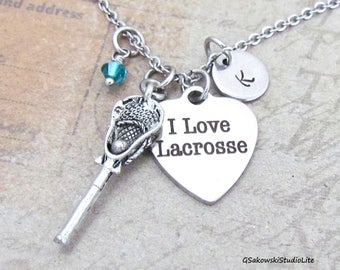 I Love Lacrosse Lacrosse Stick Charm Necklace, Personalized Antique Silver Hand Stamped Initial Monogram Birthstone Lacrosse Necklace