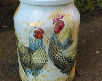 Rooster  Hen money jar,Easter jar,cookie jar,Hand decorated,jewelry jar,coffee jar,keepsake jar,Sweet jar Easter gift,chicken,wedding decor
