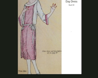 1920s 20s Vintage Sewing Pattern Flapper Art Deco Dress Downton Abbey Reproduction Bust 36 PDF INSTANT DOWNLOAD