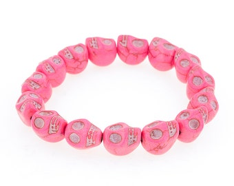 Day of the Dead Jewelry Howlite Skull Bracelet-Pink