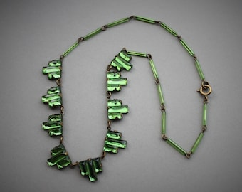Art Deco Green Mirrored Glass Necklace / Antique 1920s Vauxhall Stepped Glass Choker Necklace