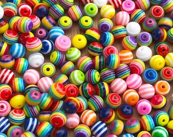 8mm resin beads, jewelry making beads, rainbow beads, multi color beads, 25 beads per pack