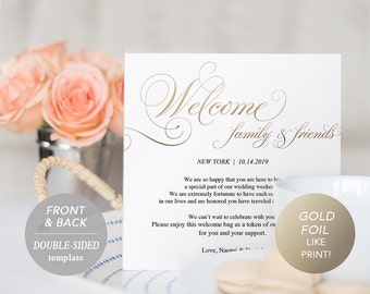 Gold Wedding Itinerary Card, Welcome Note, Printable Wedding Itinerary, Agenda, Schedule, Welcome Bag Letter, Instant Download, PDF Template
