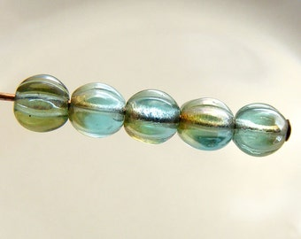 Czech Melon Beads 5mm Round Aquamarine Celsian Fluted (20pk) SI-5ML-AC