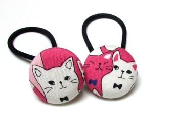 Handmade Kawaii White Pink White Japanese Cat Cats Animal Children Girl Fabric Button Ponytail Holder Elastic Hair Ties Girly Gifts