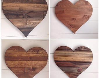 Rustic 16 inch wide wood heart sign