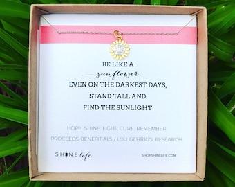 Sunflower ALS Necklace Lou Gehrig's Disease awareness gold vermeil cubic zirconia encouragement