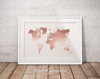 Rose Gold Decor, Office Decor, World Map Print, Rose Gold Map, Rose Gold Wall Art, Rose Gold Print, Rose Gold Art, Rose Gold Office Poster
