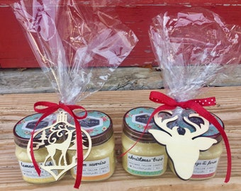 Holiday Gift Set of 2 Candles - You choose scents, 8 oz Jar Candles, Beeswax Tallow Candle, Mason Jar Candle, Natural Candle, Holiday Gift