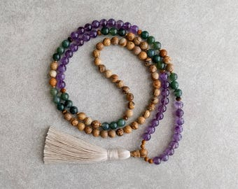 108 Bead Mala with Picture Jasper, Agate & Amethyst - Meditation Yoga Necklace - Boho Spiritual Jewelry - Item # 912