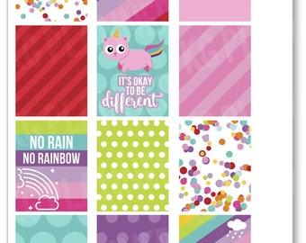 Unicorn Kitty Full Boxes Planner Stickers for Erin Condren Planner, Filofax, Plum Paper
