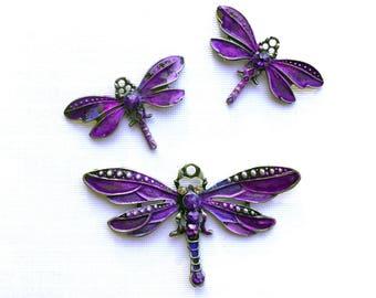 Amethyst Purple Dragonfly Pendant, Handmade Dragonfly Charm, Purple Dragonfly, Painted Dragonflies, Dry Gulch, You Choose 1 Pendant or 2 Cha