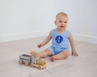Monogrammed Gingham Jon Jon | Personalized Gingham Shortall | Preppy Classic Boys Outfit | Easter--Church--Family Pictures