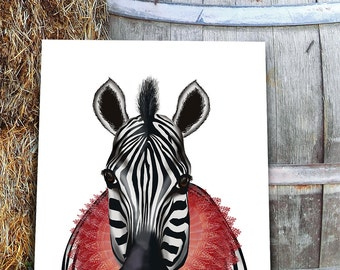 Jungle animals - Zebra Print Red Ruff - jungle nursey art safari nursery décor Zebra art Zebra decor whimsical nursery black and white decor