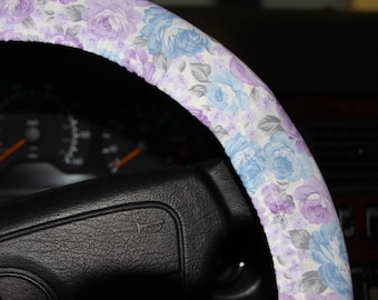 Lavender and Baby Blue steering wheel cover/ Neutral colors cover/ Girls gift idea / gift under 15 /hostess gift idea.