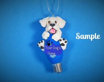 WHITE Golden Retriever Christmas Holidays Light Bulb Ornament Sally's Bits of Clay OOAK Personalized FREE with dog's name