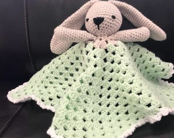 Crochet Bunny Rabbit Lovey Security Travel Blanket Wubby