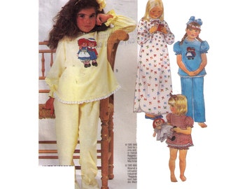 Uncut McCall's 2240, 80s sewing pattern, size L girl's nightgown pattern, raggedy Anne pajamas, long sleeve pajamas,