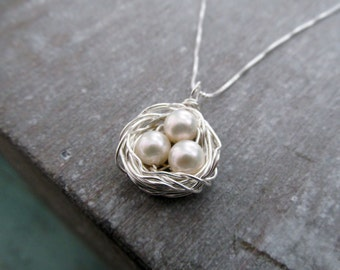 Birds Nest Necklace, Mothers Necklace, Pearl Egg Nest, Personalized Jewelry