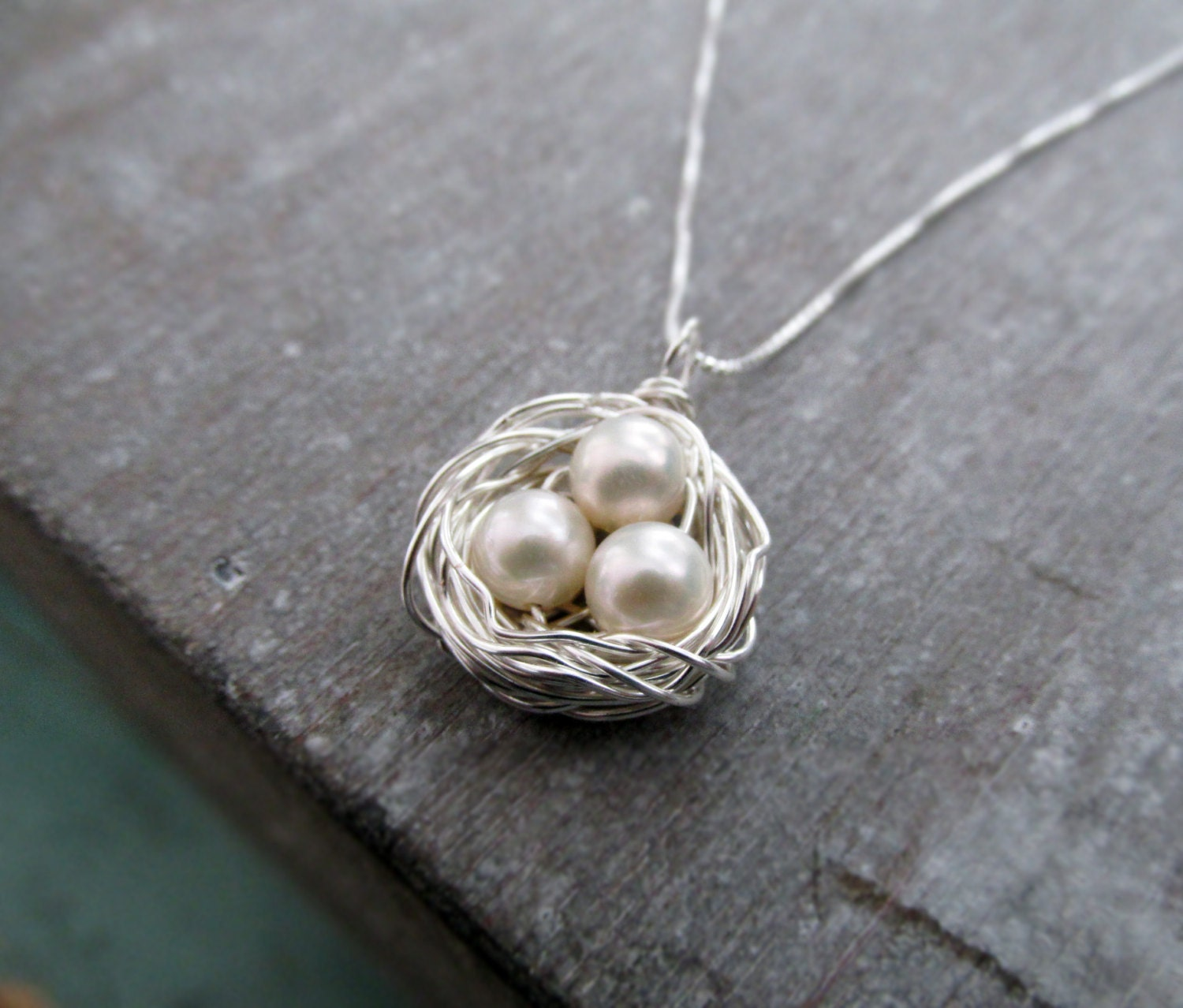Birds nest necklace mothers necklace pearl egg nest personalized birds nest necklace mothers necklace pearl egg nest personalized jewelry aloadofball Choice Image