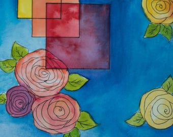 Geometric Floral 1 - watercolor and ink painting