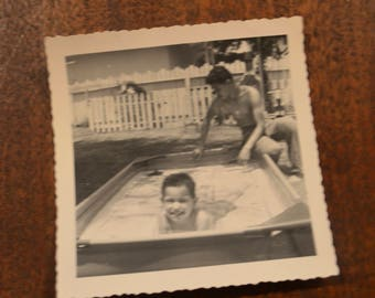Lot of three vintage antique old black and white photographs pictures swimming pool summer children swimmers bathing suit