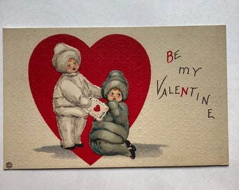 Vintage Valentine Postcard 1900's  Be My Valentine Winter snow suits Made in the USA Ephemera