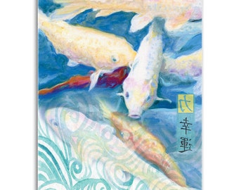 Koi Fish, Note Cards - Set of four 5x7 note cards - painting and poem by Claire