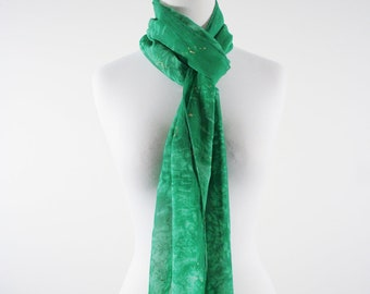 Hand dyed green scarf, kelly green silk scarf, green scarf for her