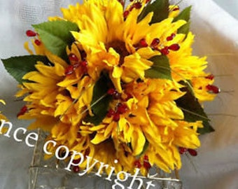Artificial Sunflower Silk Bridal Bouquet in a  Natural Hand Held Look in Beautiful Silk Sunflowers