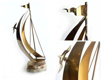 Brass Sailboat on Quartz Base, Signed by Artist DeMott Brass Sailboat, DeMott Sailboat Sculpture, Nautical Sail Boat Decor, 15 inch Sailboat