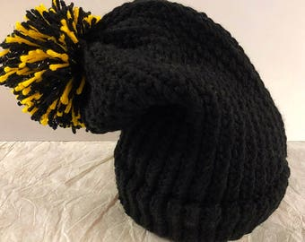 Knit Black Slouchy Hat with Sparkly Pom Pom